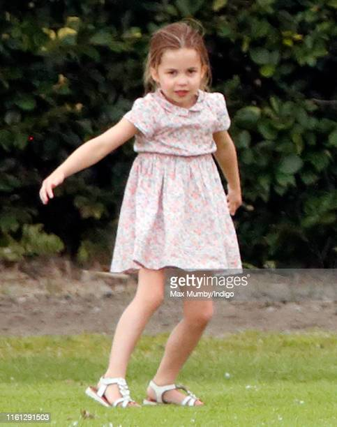 Princess Charlotte of Cambridge attends the King Power Royal Charity Polo Match, in which Prince William, Duke of Cambridge and Prince Harry, Duke of...