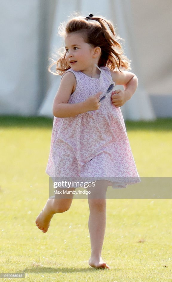 Princess Charlotte of Cambridge attends the Maserati Royal Charity Polo Trophy at the Beaufort Polo Club on June 10, 2018 in Gloucester, England.