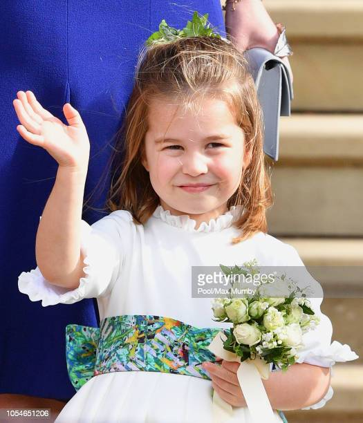 Princess Charlotte of Cambridge attends the wedding of Princess Eugenie of York and Jack Brooksbank at St George's Chapel on October 12 2018 in...