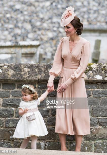 Princess Charlotte of Cambridge bridesmaid and Catherine Duchess of Cambridge attend the wedding Of Pippa Middleton and James Matthews at St Mark's...
