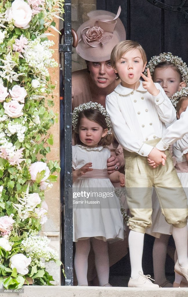 Princess Charlotte of Cambridge, bridesmaid and Catherine, Duchess of Cambridge attend the wedding Of Pippa Middleton and James Matthews at St Mark's Church on May 20, 2017 in Englefield Green, England.