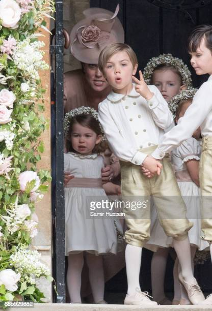 Princess Charlotte of Cambridge bridesmaid and Catherine Duchess of Cambridge arrive for the wedding Of Pippa Middleton and James Matthews as a page...