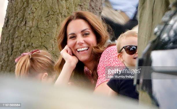 Princess Charlotte of Cambridge Catherine Duchess of Cambridge and Prince Louis of Cambridge attend the King Power Royal Charity Polo Match in which...