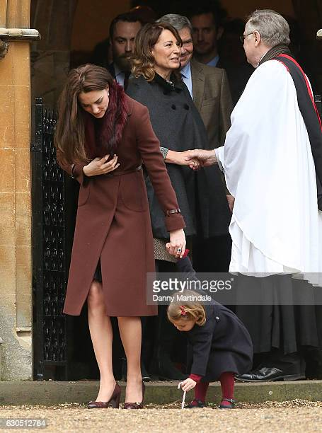 Princess Charlotte of Cambridge Catherine Duchess of Cambridge Carole Middleton and Michael Middleton attend Church on Christmas Day on December 25...