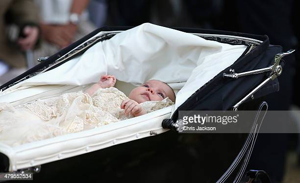 Princess Charlotte of Cambridge is pushed in her silver cross pram as she leavesthe Church of St Mary Magdalene on the Sandringham Estate for the...