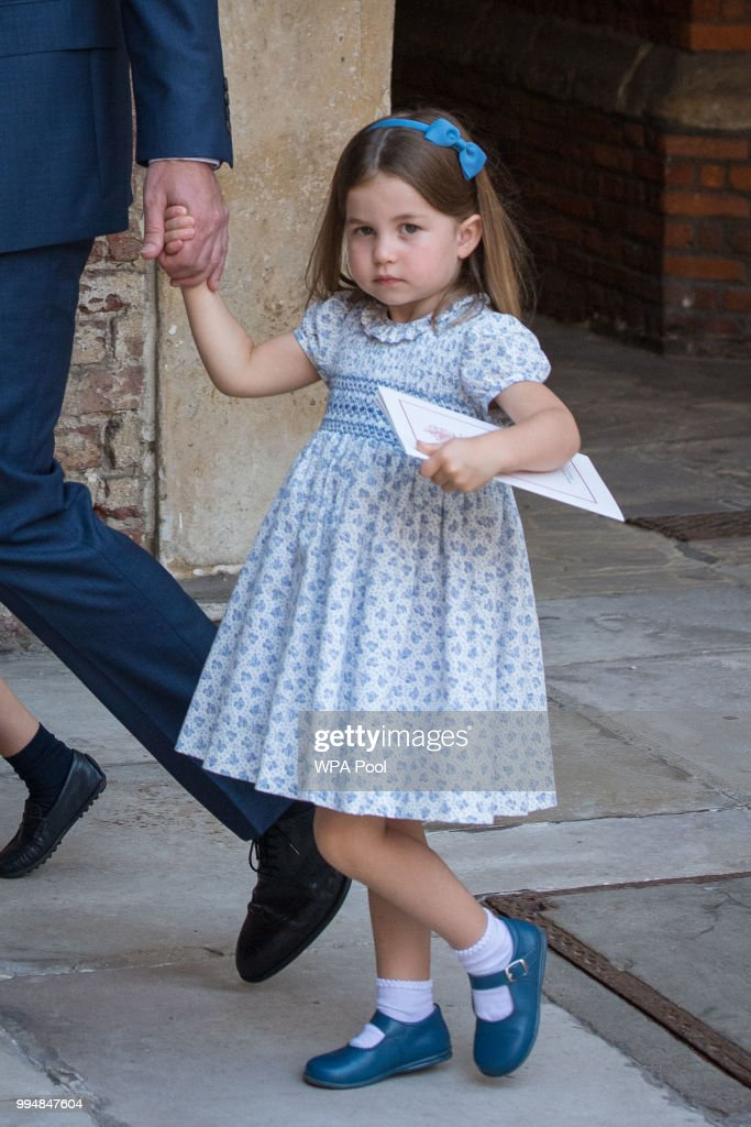 Princess Charlotte of Cambridge leaves after Prince Louis of Cambridge's christening at the Chapel Royal, St James's Palace, London on July 09, 2018 in London, England.