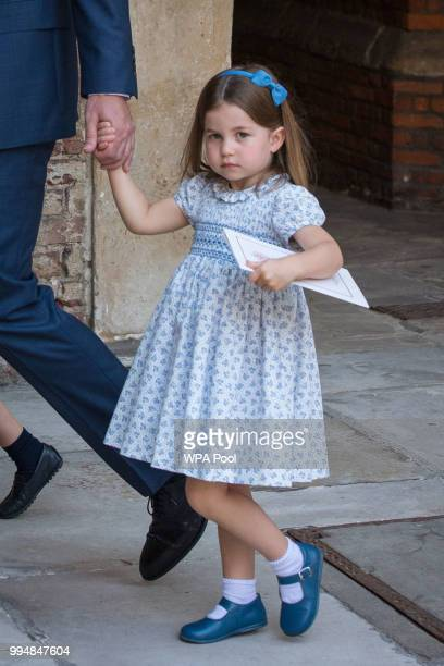 Princess Charlotte of Cambridge leaves after Prince Louis of Cambridge's christening at the Chapel Royal St James's Palace London on July 09 2018 in...