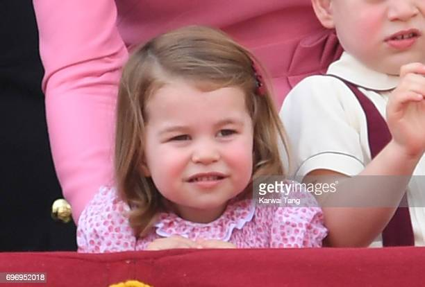 Princess Charlotte of Cambridge looks on from the balcony during the annual Trooping The Colour parade at the Mall on June 17 2017 in London England