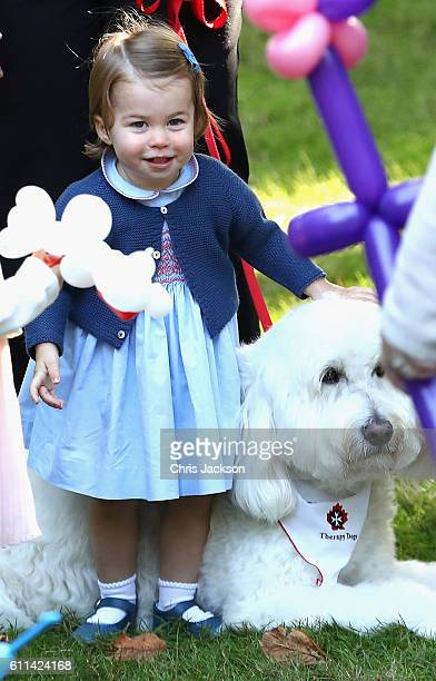 Princess Charlotte of Cambridge plays with a dog at a children's party for Military families during the Royal Tour of Canada on September 29 2016 in...