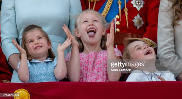 Princess Charlotte of Cambridge Savannah Phillips and Prince George of Cambridge during Trooping The Colour 2018 on June 9 2018 in London England