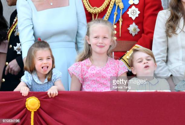 Princess Charlotte of Cambridge Savannah Phillips and Prince George of Cambridge on the balcony of Buckingham Palace during Trooping The Colour 2018...