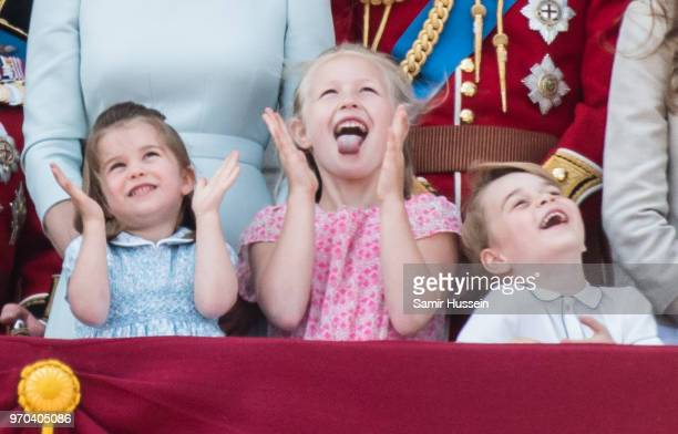 Princess Charlotte of Cambridge, Savannah Phillips and Prince George of Cambridge on the balcony of Buckingham Palace during Trooping The Colour 2018...