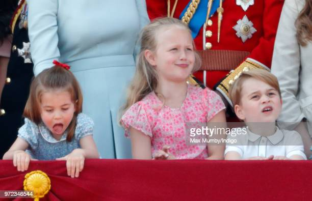 Princess Charlotte of Cambridge Savannah Phillips and Prince George of Cambridge stand on the balcony of Buckingham Palace during Trooping The Colour...