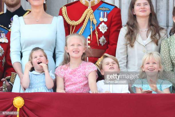 Princess Charlotte of Cambridge Savannah Phillips Prince George of Cambridge and Isla Phillips on the balcony of Buckingham Palace during Trooping...