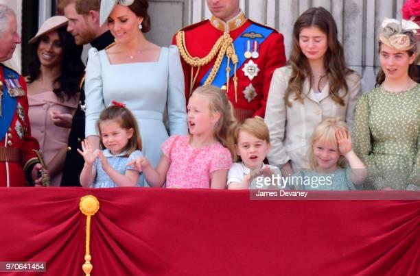 Princess Charlotte of Cambridge Savannah Phillips Prince George of Cambridge and Isla Phillips stand on the balcony of Buckingham Palace during the...