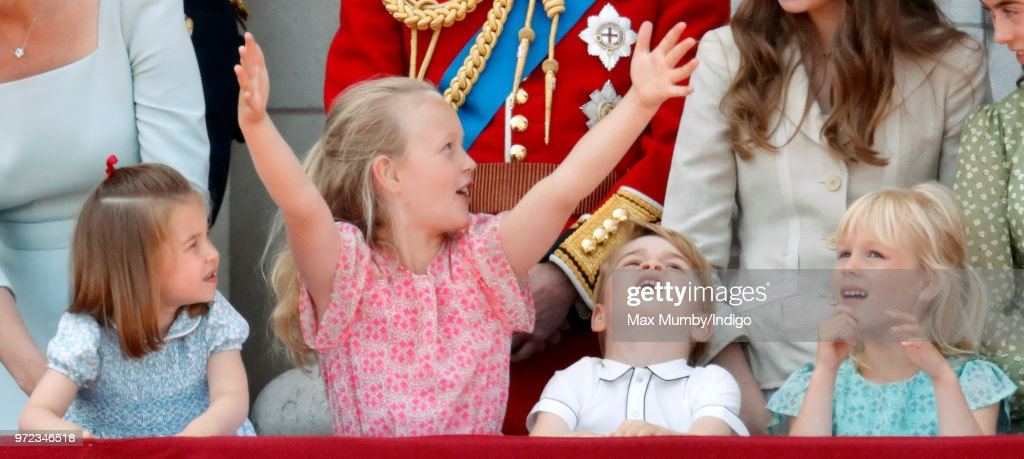 Princess Charlotte of Cambridge, Savannah Phillips, Prince George of Cambridge and Isla Phillips stand on the balcony of Buckingham Palace during Trooping The Colour 2018 on June 9, 2018 in London, England. The annual ceremony, involving over 1400 guardsmen and cavalry, is believed to have first been performed during the reign of King Charles II. The parade marks the official birthday of the Sovereign, even though the Queen's actual birthday is on April 21st.
