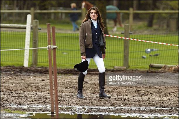 Princess Charlotte of Monaco is training on new horse 'Claire chen' in Fontainebleau France on April 30 2004