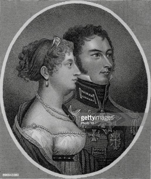 Princess Charlotte of Wales only child of George IV of Great Britain and Caroline of Brunswick with her husband Leopold of SaxeCoburg later Leopold I...