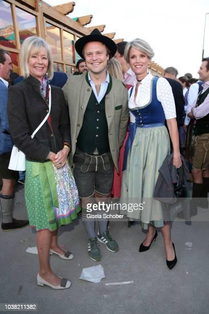 Princess Charlotte von Bismarck and her daughter Stephanie zu Guttenberg and host Konstantin Nagel during the Oktoberfest 2018 opening and Lodenfrey...