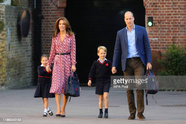 Princess Charlotte, with by her father, the Duke of Cambridge, and mother, the Duchess of Cambridge and Prince George, arriving for her first day of...