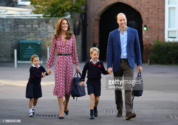 Princess Charlotte with by her father the Duke of Cambridge and mother the Duchess of Cambridge and Prince George arriving for her first day of...