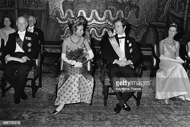 Princess Christina and Crownprince Carl Gustaf of Sweden attend an official event as part of their royal duty on March 14 1970