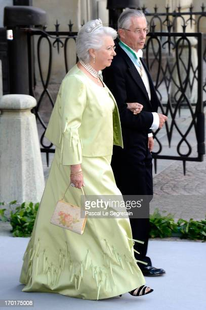 Princess Christina Magnuson and Tord Magnuson attend the wedding of Princess Madeleine of Sweden and Christopher O'Neill hosted by King Carl Gustaf...