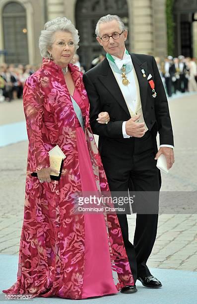 Princess Christina of Sweden and husband General Tord Magnuson attends the wedding of Crown Princess Victoria of Sweden and Daniel Westling on June...