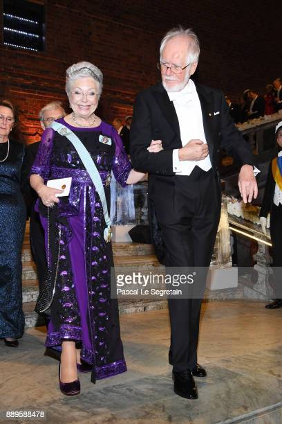 Princess Christina of Sweden and Jacques Dubochetlaureate of the Nobel Prize in Chemistry attend the Nobel Prize Banquet 2017 at City Hall on...