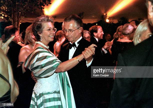 Princess Christina of Sweden dances with her husband Tord Magnuson during the annual Opera Ball June 8 2001 at the Swedish Embassy in Washington DC