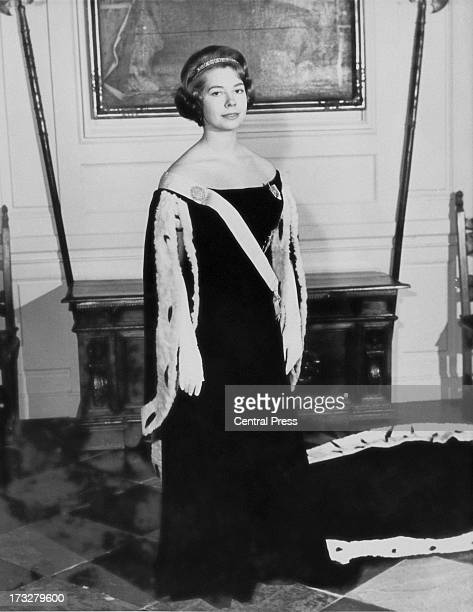 Princess Christina of Sweden in her court dress at the Royal Palace in Stockholm 11th January 1962