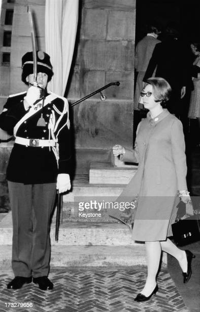 Princess Christina of Sweden who is in the Netherlands to act as a bridesmaid for Princess Beatrix of the Netherlands seen here arriving at the Royal...