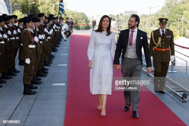 Princess Claire and Prince Felix of Luxembourg arrive at Luxembourg Philarmonie hall for official reception of National Day on June 23 2018 in...
