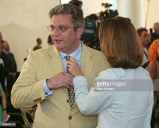 Princess Claire and Prince Laurent celebrate King Albert's 70th Birthday at the Royal Castle on June 08 in Brussels, Belgium. To celebrate his...