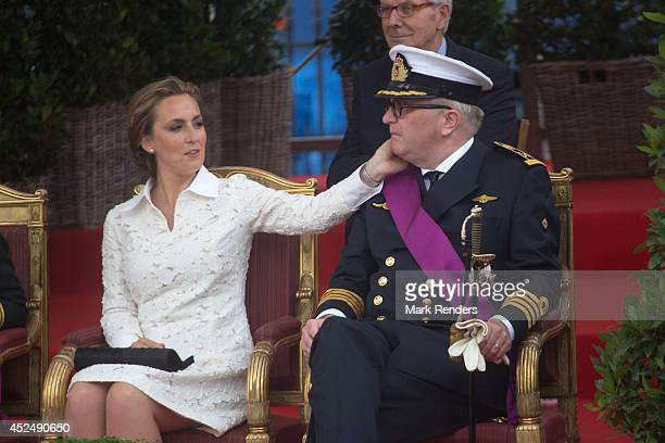 Princess Claire and Prince Laurent of Belgium assist National Day at Place des Palais on July 21 2014 in Brussel Belgium
