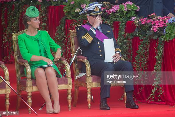 Princess Claire and Prince Laurent of Belgium during the Parade on National Day on July 21 2015 in Brussel Belgium