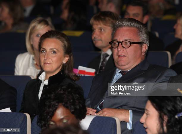 Princess Claire and Prince Laurent of Belgium watch a movie during the opening night of the 25th Festival International du Film Francophone at Cameo...