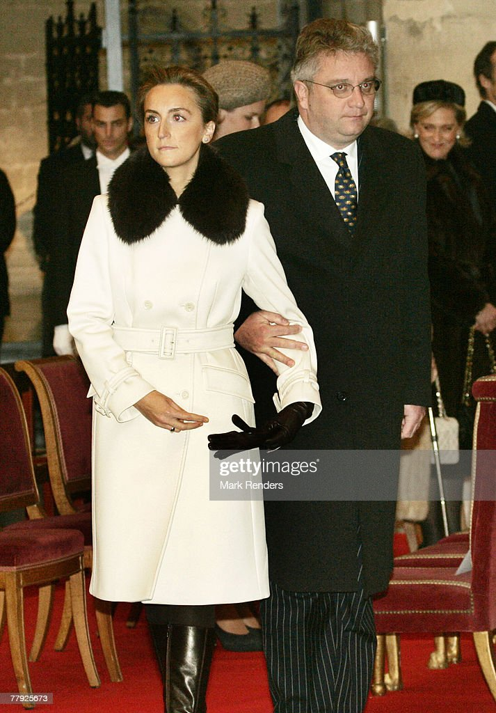 Princess Claire and Prince Lorent of Belgium attend the Te Deum at the Cathedrale St. G?dule , on Kings Day on November 15, 2007 in Brussels, Belgium.