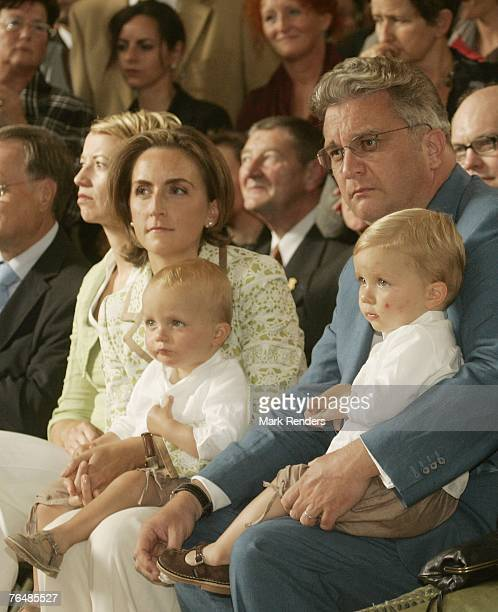 Princess Claire and Princes Emmerick and Nicolas and Prince Laurent from Belgium assists a party for Queen Paola's 70th birthday at Laeken Castle on...
