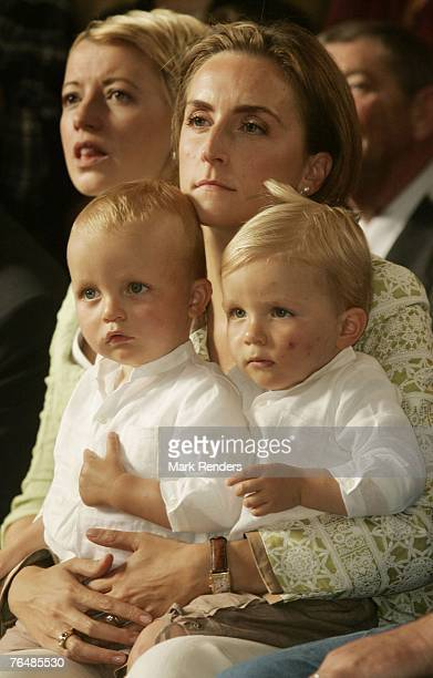 Princess Claire and Princes Emmerick and Nicolas from Belgium assists a party for Queen Paola's 70th birthday at Laeken Castle on September 02 2007...