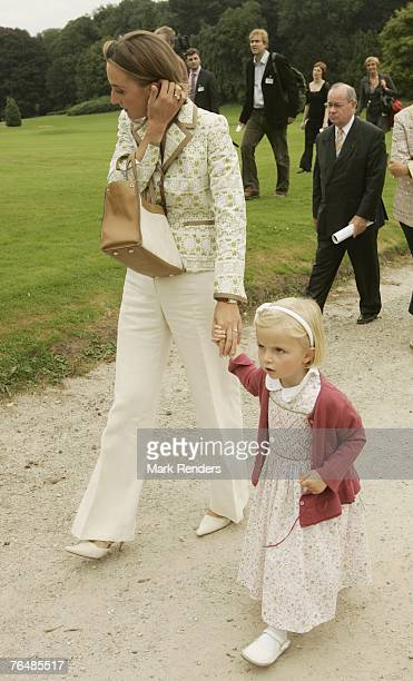 Princess Claire and Princess Laetitia assist a party for Queen Paola's 70th birthday at Laeken Castle on September 02 2007 in the Belgian Capital...
