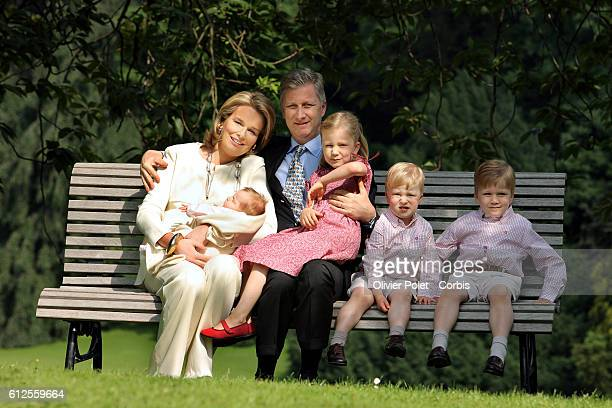 Princess Claire little Princess Eleonore Prince Philippe Princess Elisabeth Prince Gabriel and Prince Emmanuel pictured during a photo session with...