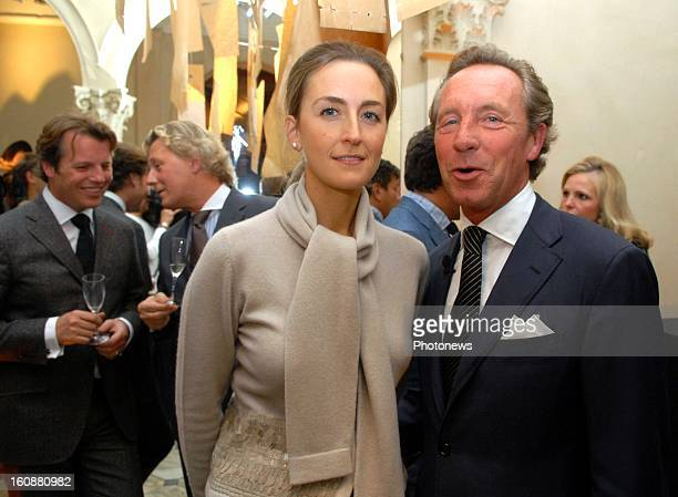 Princess Claire of Belgium and Edouard Vermeulen at the cocktail celebrating the 25th anniversary of Natan on October 21 2008 in Brussels Belgium
