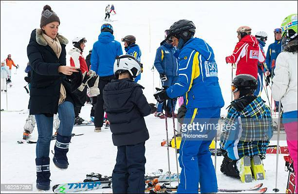 Princess Claire of Belgium and her children Prince Aymeric, Prince Nicolas and Princess Louise prepare for a day of skiing on February 21, 2013 in...