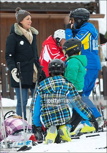 Princess Claire of Belgium and her children Prince Aymeric Prince Nicolas and Princess Louise prepare for a day of skiing on February 21 2013 in...