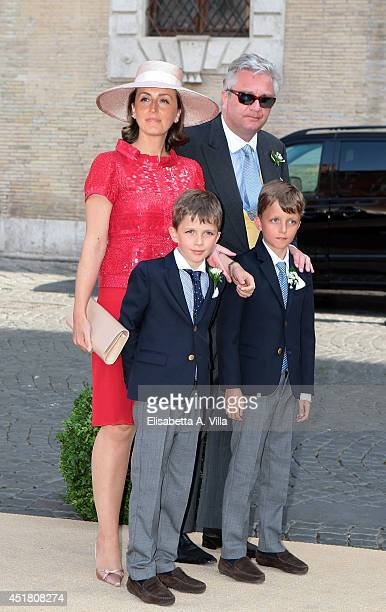 Princess Claire of Belgium and her family attend the wedding of Prince Amedeo of Belgium and Elisabetta Maria Rosboch Von Wolkenstein at Basilica...