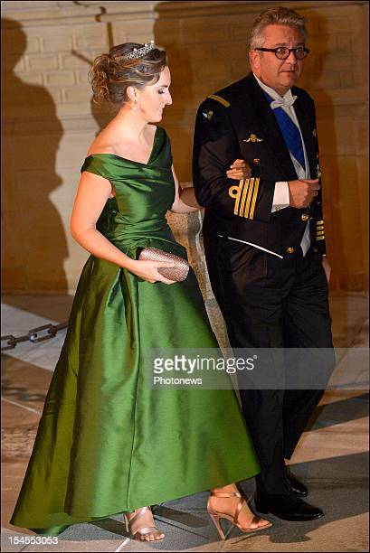 Princess Claire of Belgium and Prince Laurent of Belgium arrive at the Gala Dinner for the wedding of Prince Guillaume Of Luxembourg and Stephanie de...