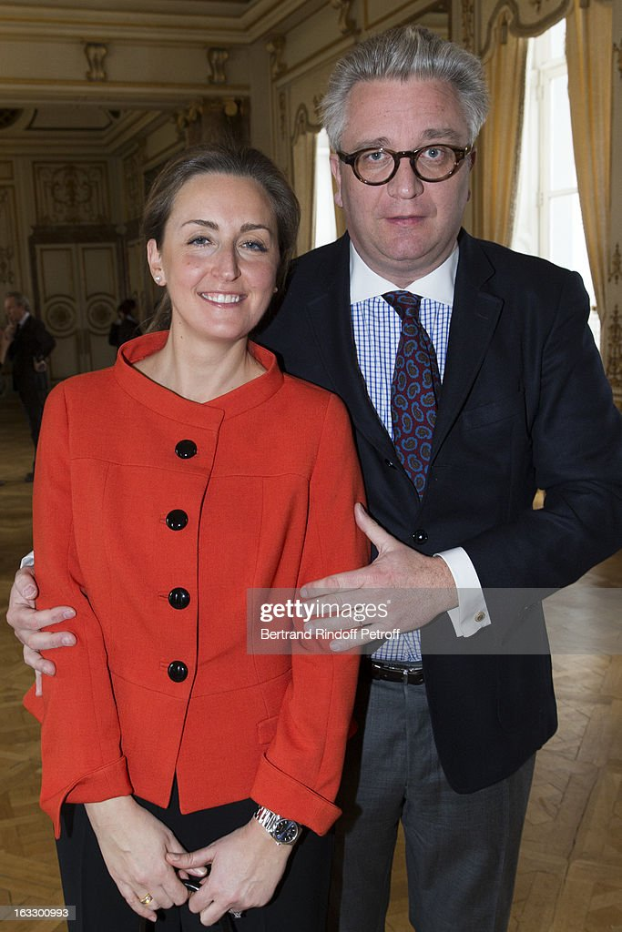 Princess Claire of Belgium and Prince Laurent of Belgium attend an award giving ceremony for French journalist and author Stephane Bern at Palais d'Egmont on March 7, 2013 in Brussels, Belgium.