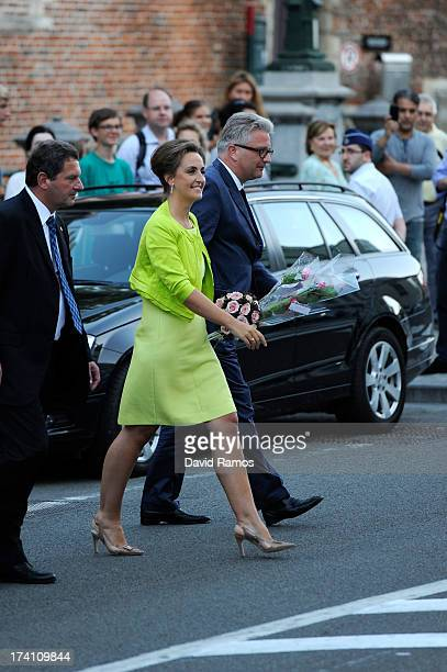 Princess Claire of Belgium and Prince Laurent of Belgium depart the concert held ahead of Belgium abdication coronation on July 20 2013 in Brussels...