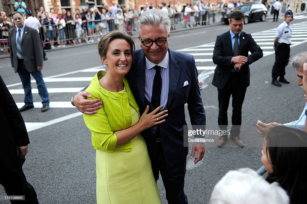 Princess Claire of Belgium and Prince Laurent of Belgium depart the concert held ahead of Belgium abdication & coronation on July 20, 2013 in Brussels, Belgium.